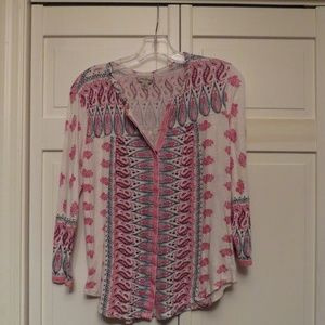 Colorful Lucky Brand 3/4 Length Sleeve Top
